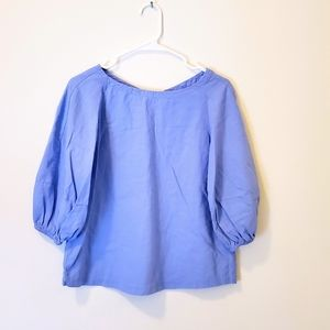 [Loft] Linen Periwinkle Puff Sleeves Blouse Size S